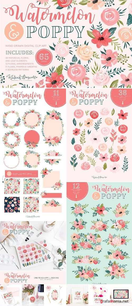 Watermelon Poppy Floral Graphic Set - 2336127
