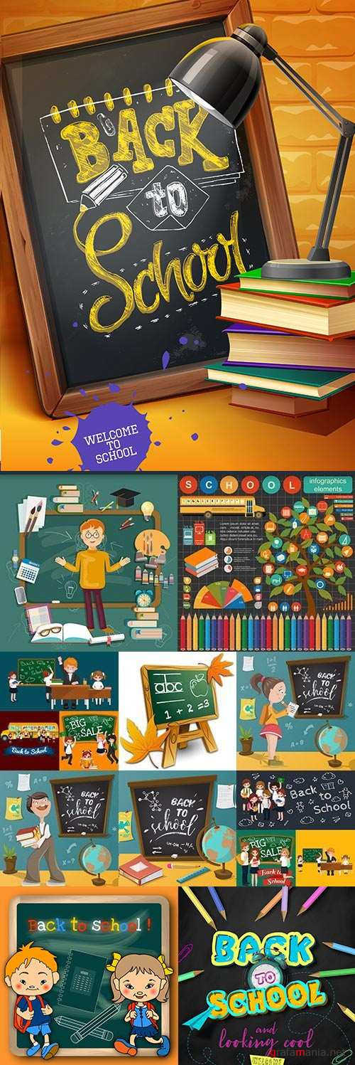 Back to school blackboard textbooks and school objects