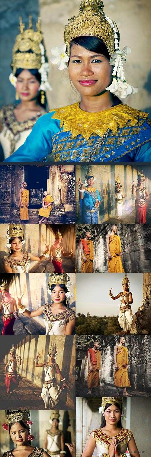 Buddhism Asian traditional clothes dance and jewelry