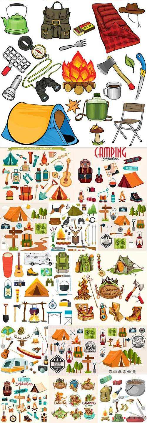 Camping and picnic summer adventures design elements