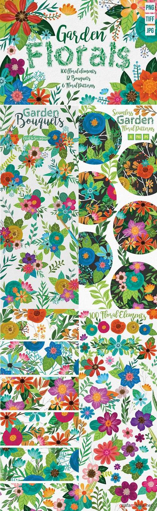Hand Painted Floral Design Elements 1569511