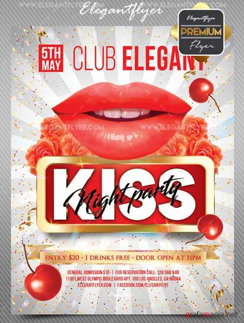 Kiss Party V1 2018 Flyer PSD Template