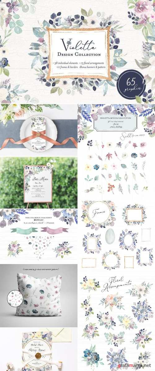 Violetta Flower Clipart and Frames 2371448