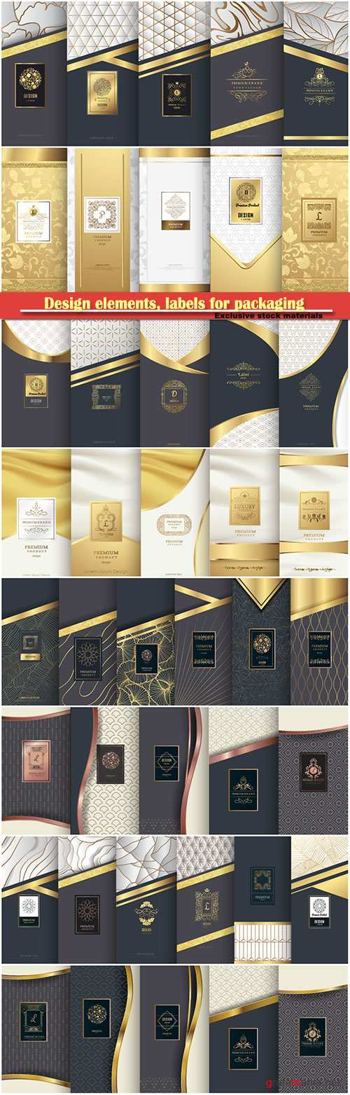 Collection of design elements, labels for packaging, design of luxury products for perfume, soap, wine, lotion