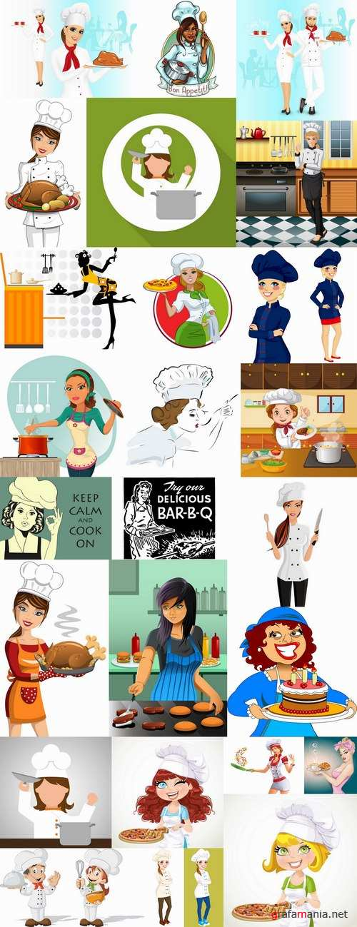 Girl woman chef cartoon baby vector illustration picture 25 EPS