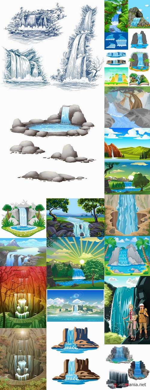 Waterfall river illustration for children's books entertaining picture 25 EPS