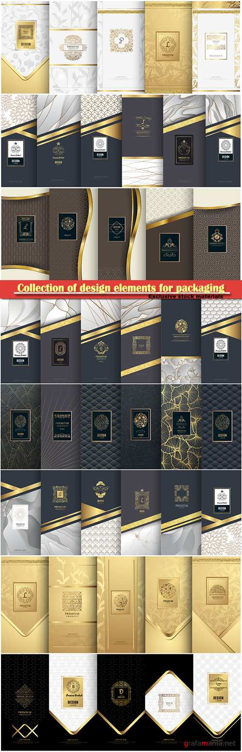 Collection of design elements for packaging, design of luxury products for perfume
