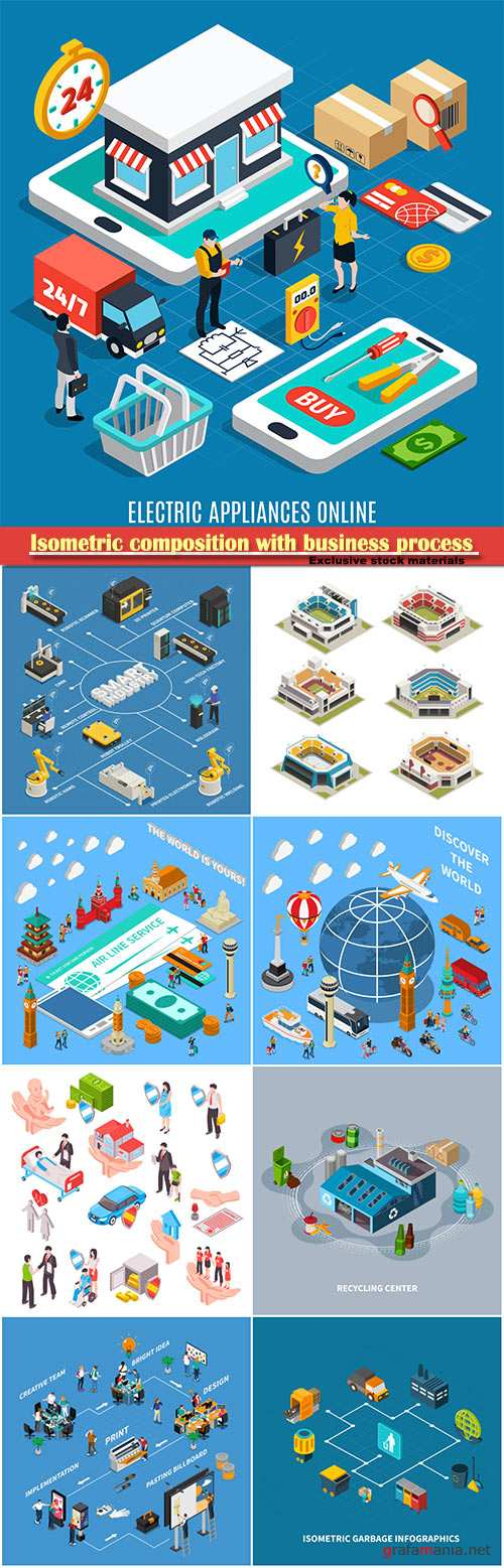 Isometric composition with business process from bright idea to billboard, vector illustration