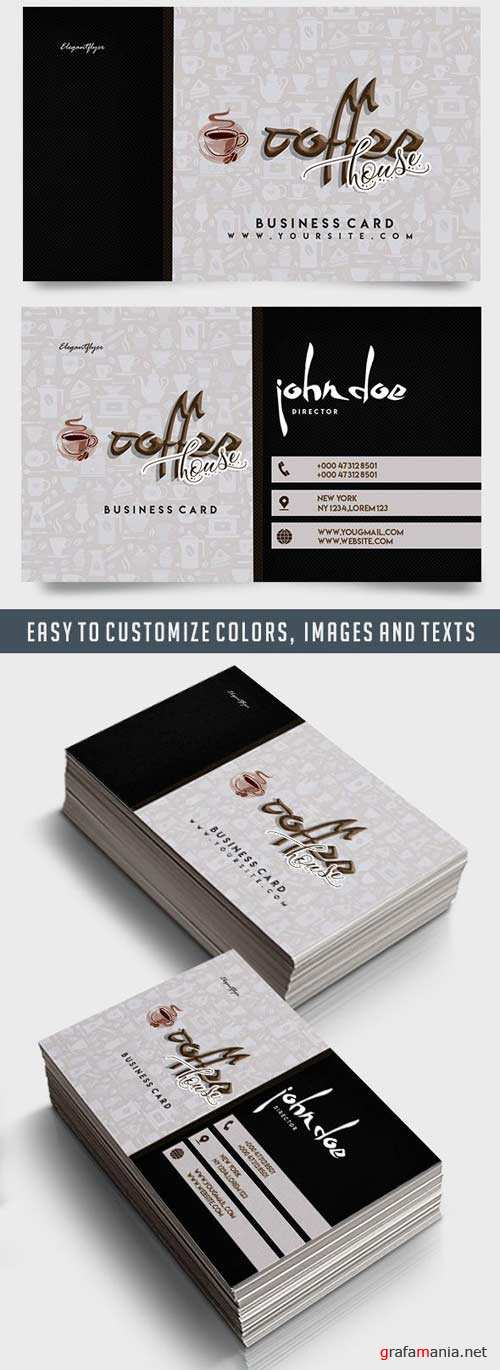Coffee House v3 2018 Business Card Templates PSD