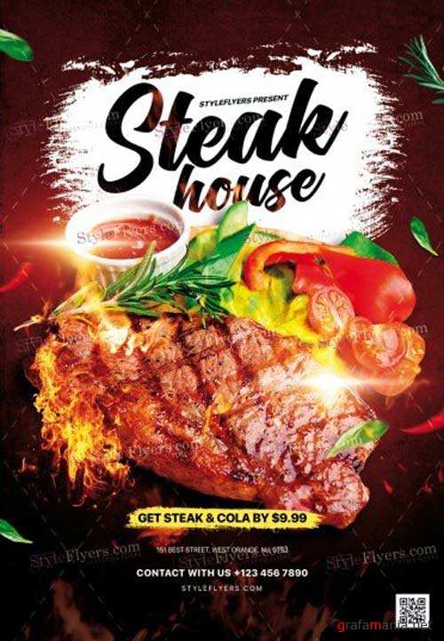 Steak House V1 2018 PSD Flyer Template