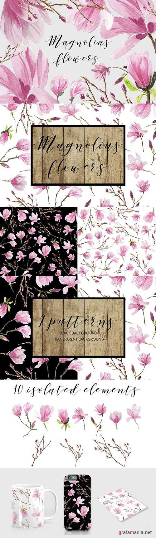 Magnolias Watercolor flowers 1553277