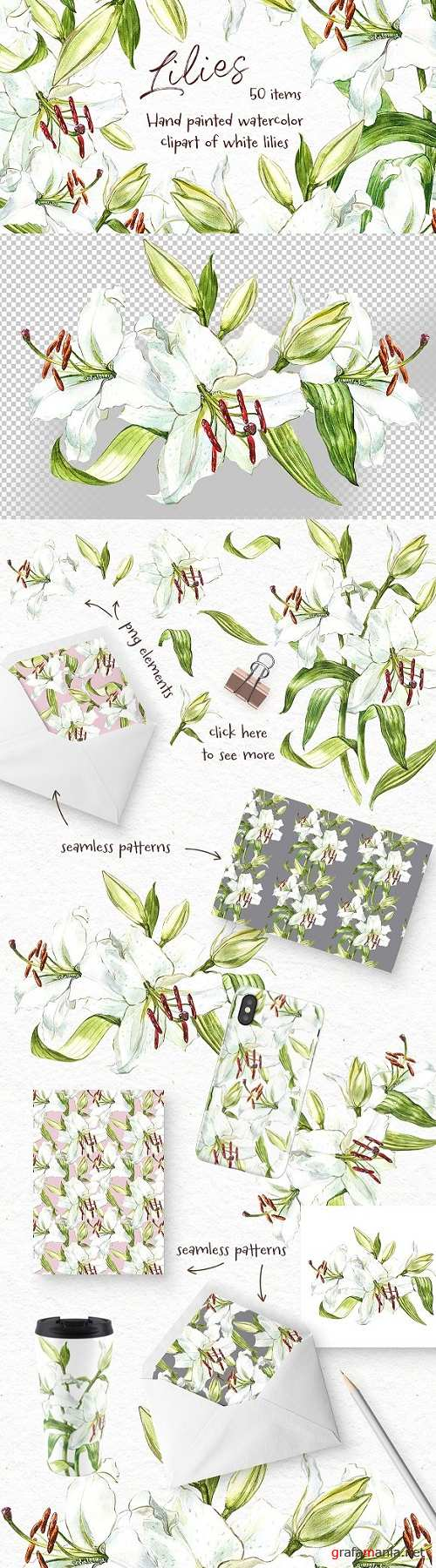 White Lilies watercolor clipart 2356766