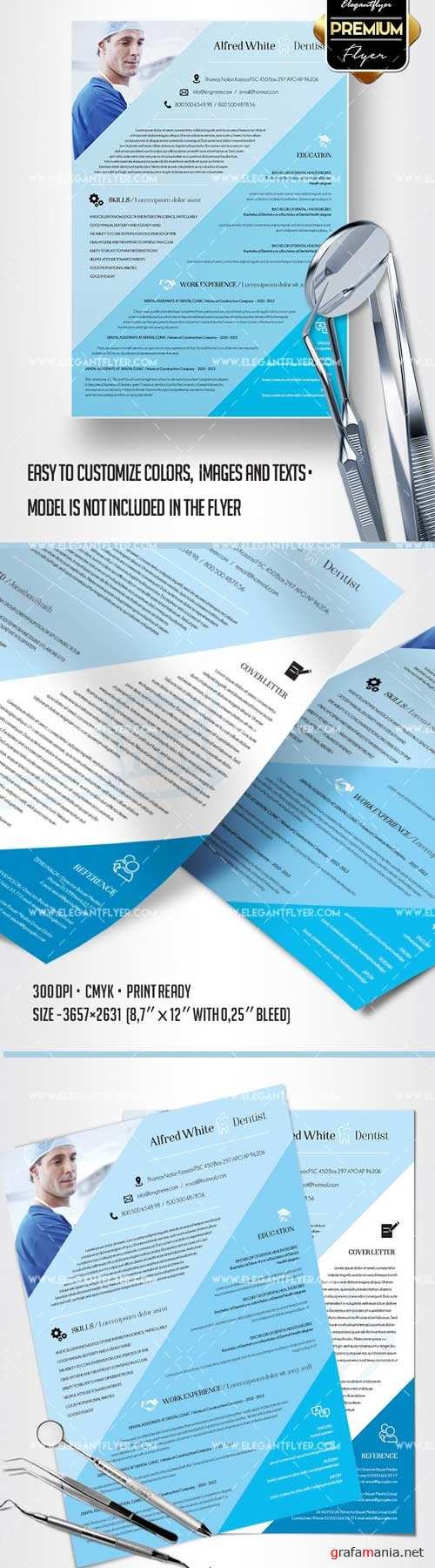 Premium CV and Cover Letter V3 2018 PSD Template