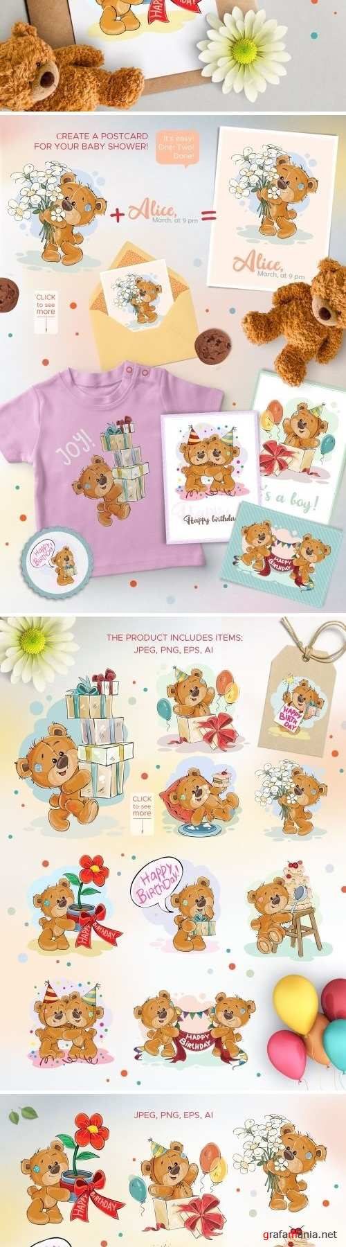 Teddy bears Happy Birthday Set 2 2160412