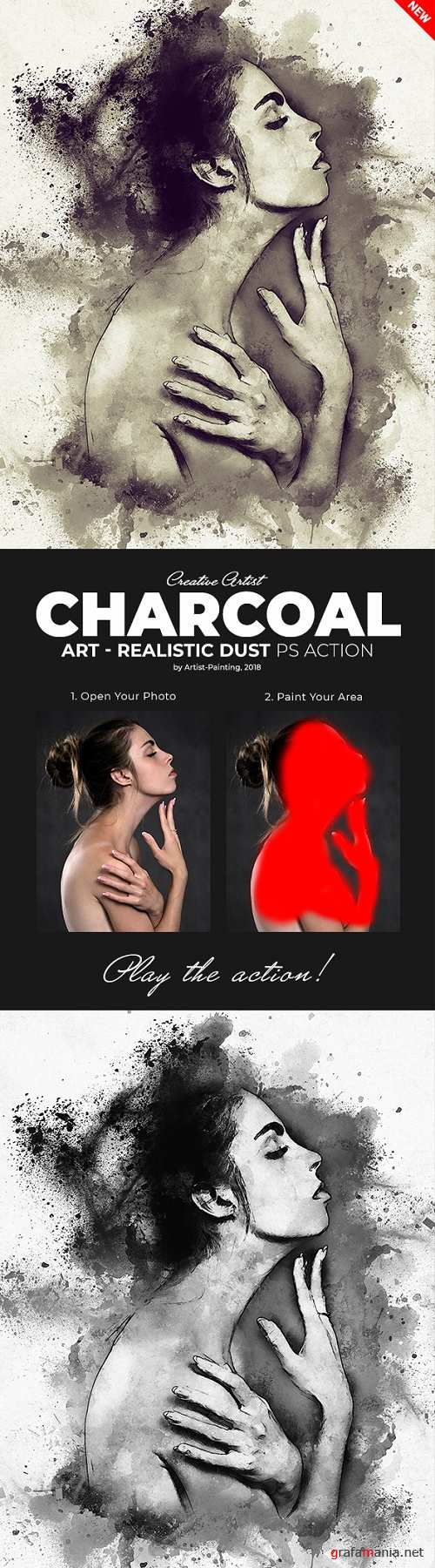 Charcoal Art – Realistic Dust Photoshop Action 21675797