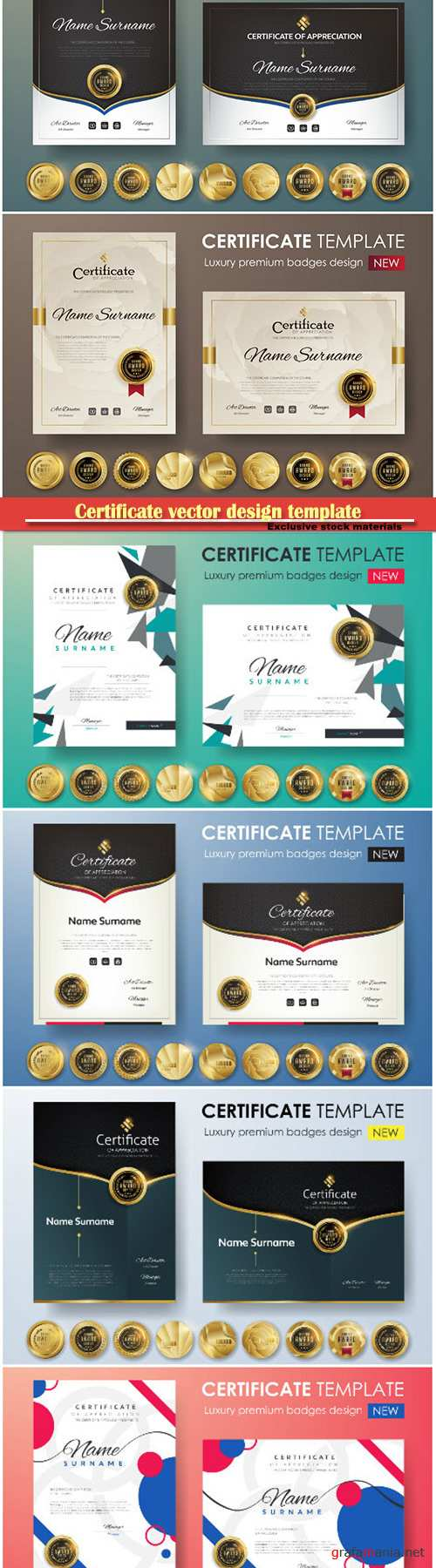 Certificate and vector diploma design template # 61