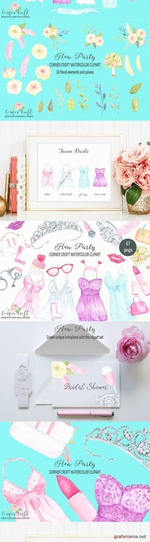 Watercolor Hen Party Clipart 2461453