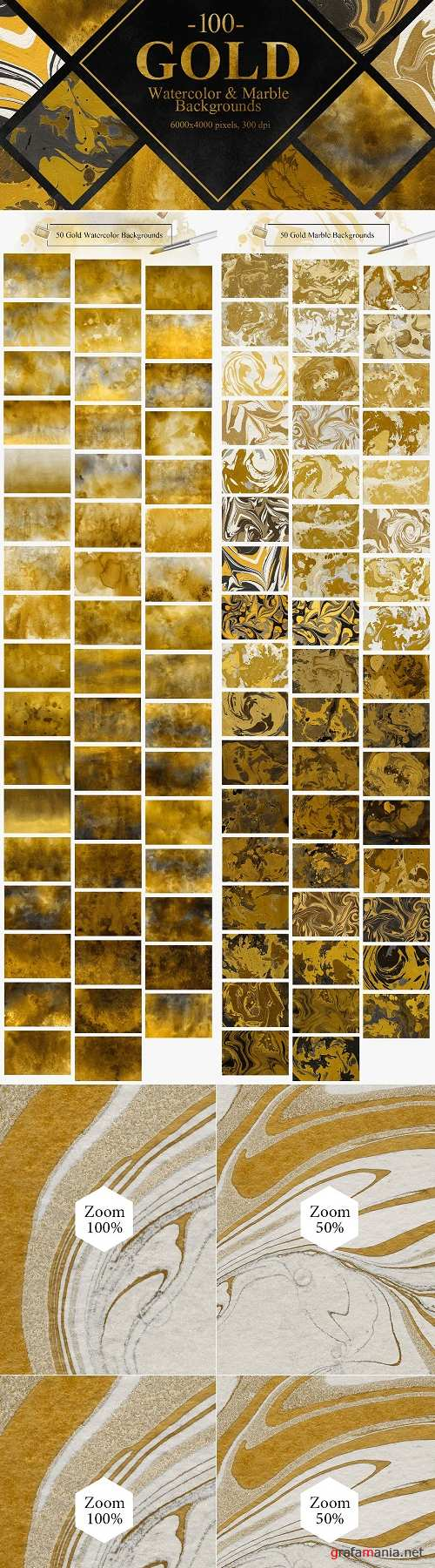 Gold Watercolor & Marble Backgrounds 2335814