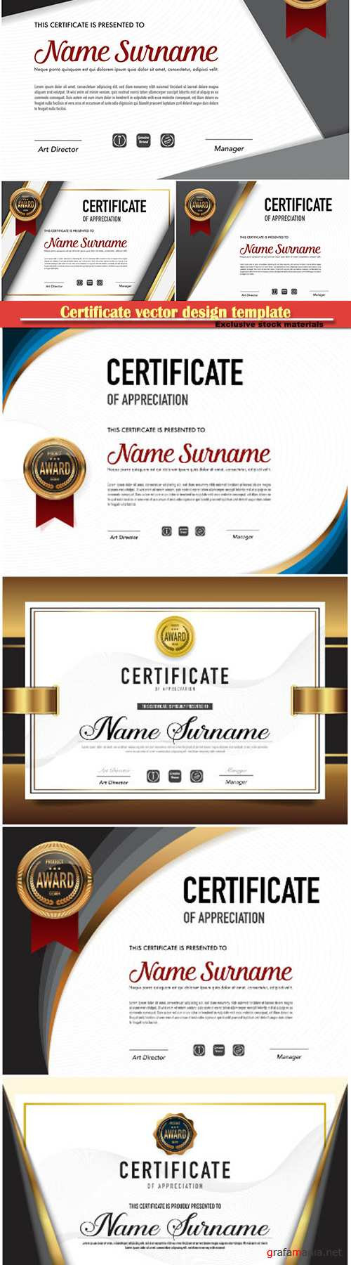 Certificate and vector diploma design template # 63