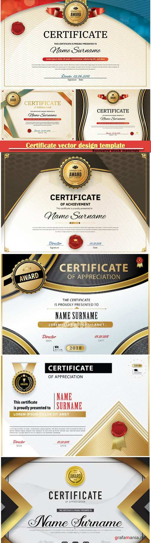 Certificate and vector diploma design template # 65