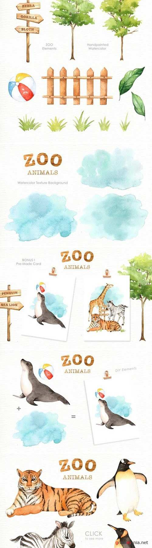 Zoo Animals Watercolor clipart 2401054