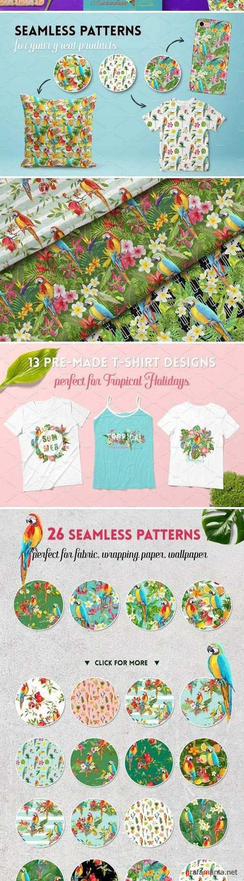 Parrots Tropical Patterns, T-shirts 2400486