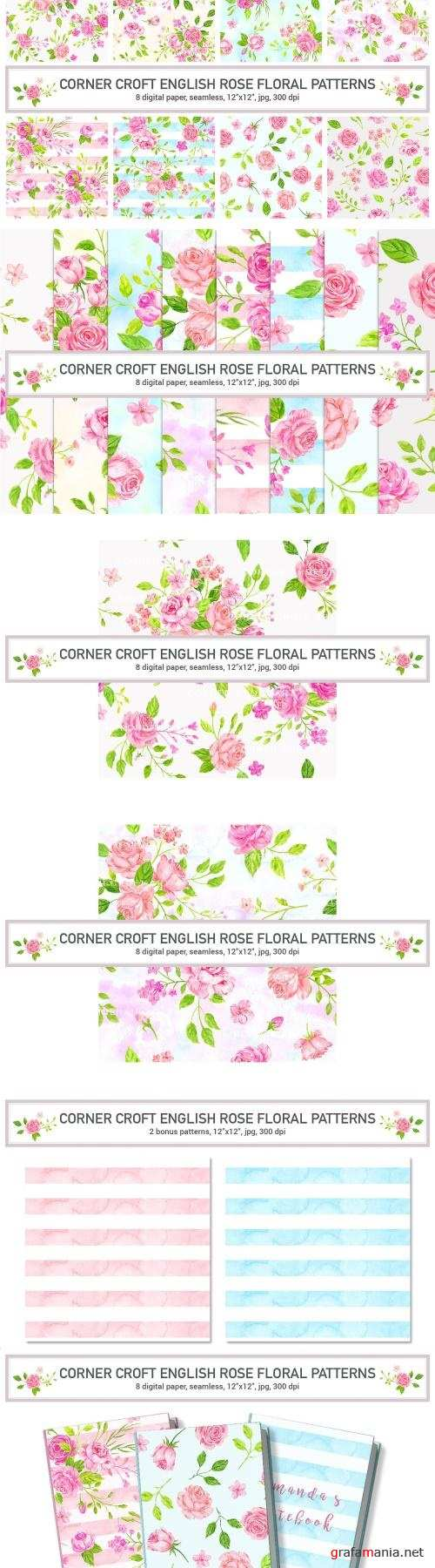 Watercolor English Rose Pattern - 2504558