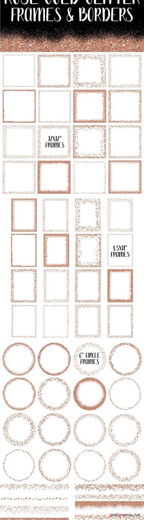 Rose Gold Glitter Frames and Borders - 2422668