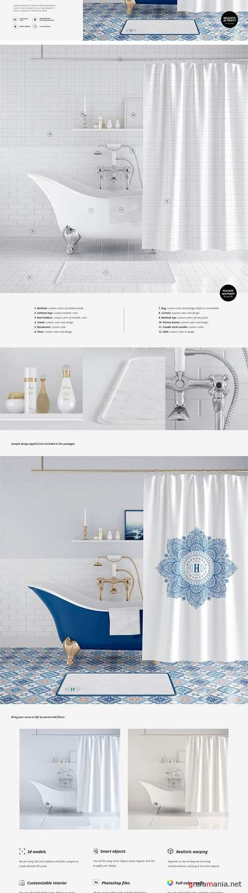 Bath Curtain Mockup 4 - 2448895