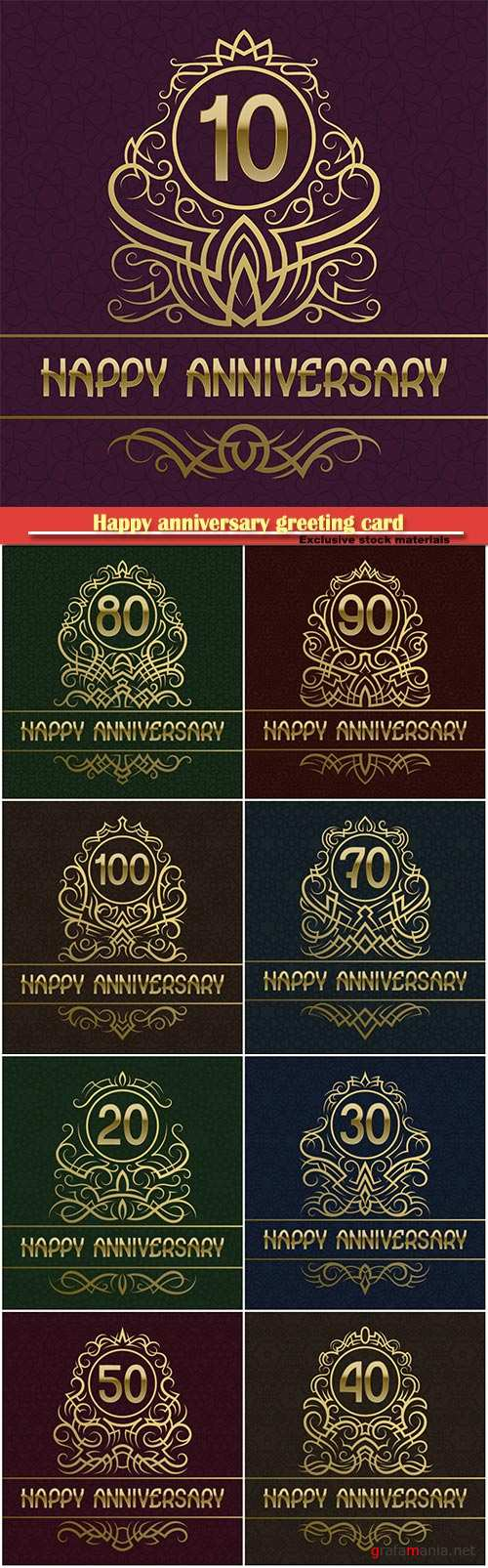 Happy anniversary greeting card with vintage design golden elements