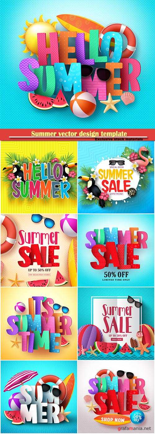 Summer vector design template, sale background