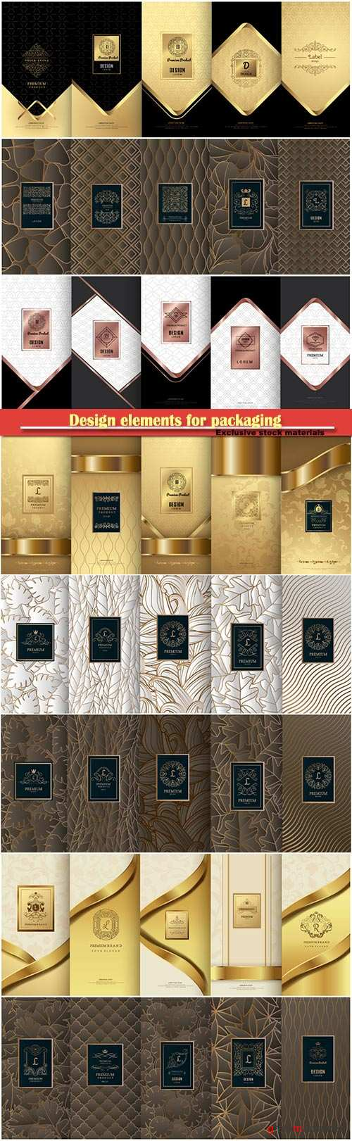 Design elements for packaging, design of luxury products for perfume