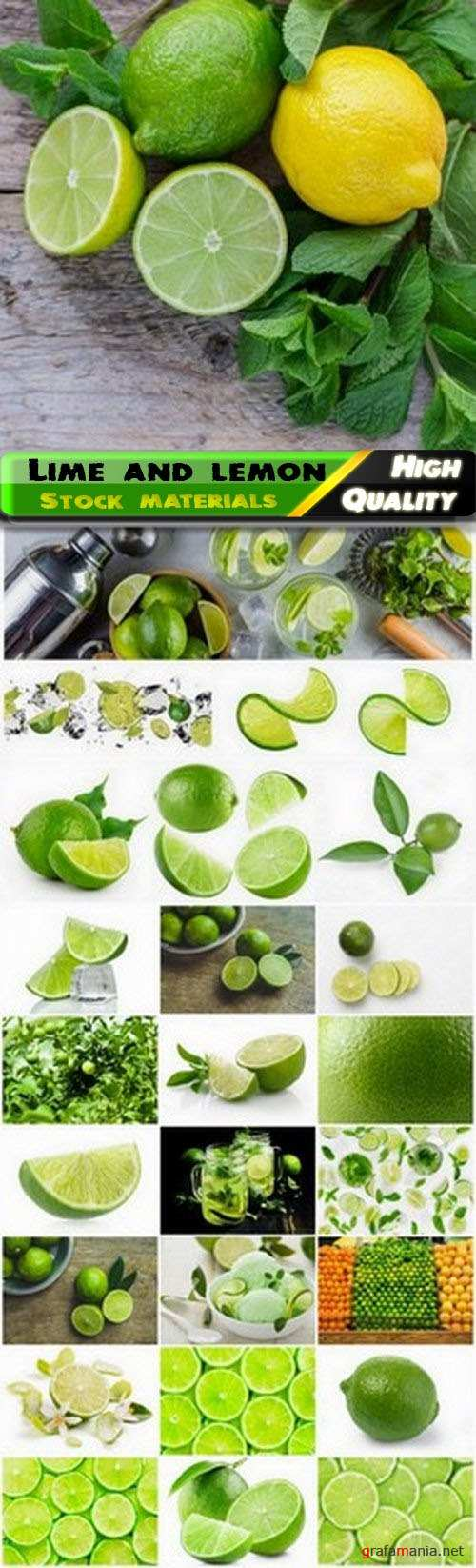 Lime fruit and slices of green lemon 25 HQ Jpg