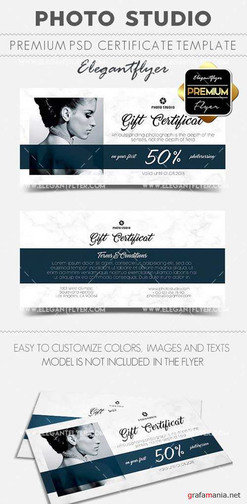 Photo Studio V2 2018 Gift Certificate PSD Template