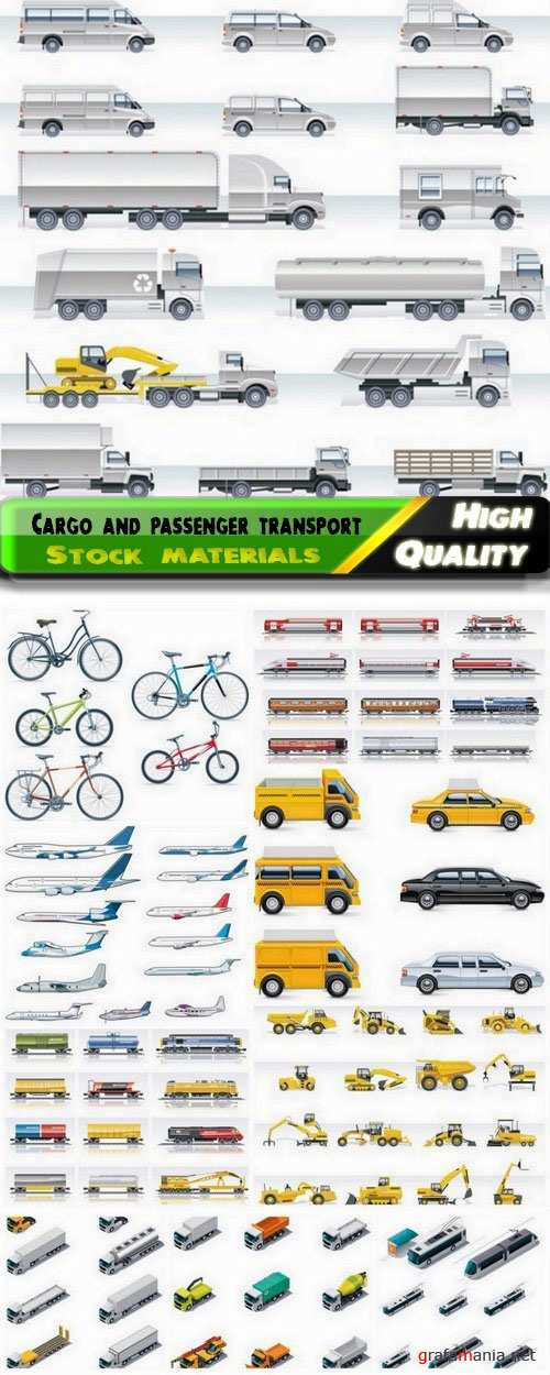 Cargo and passenger transport car truck airplane train 10 Eps