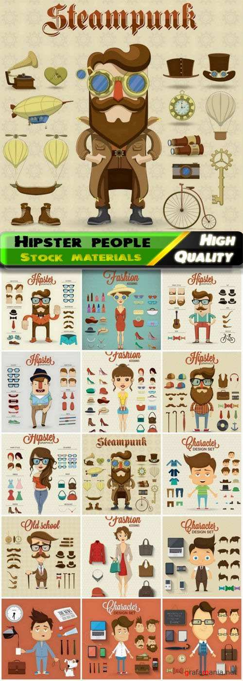 Funny man and woman hipster with clothes elements 15 Eps