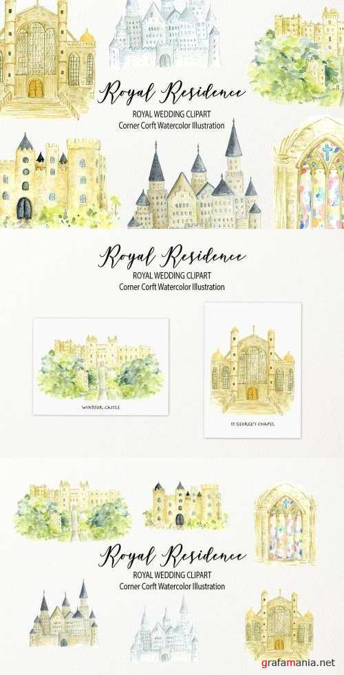 Watercolor royal residence clipart - 2520246