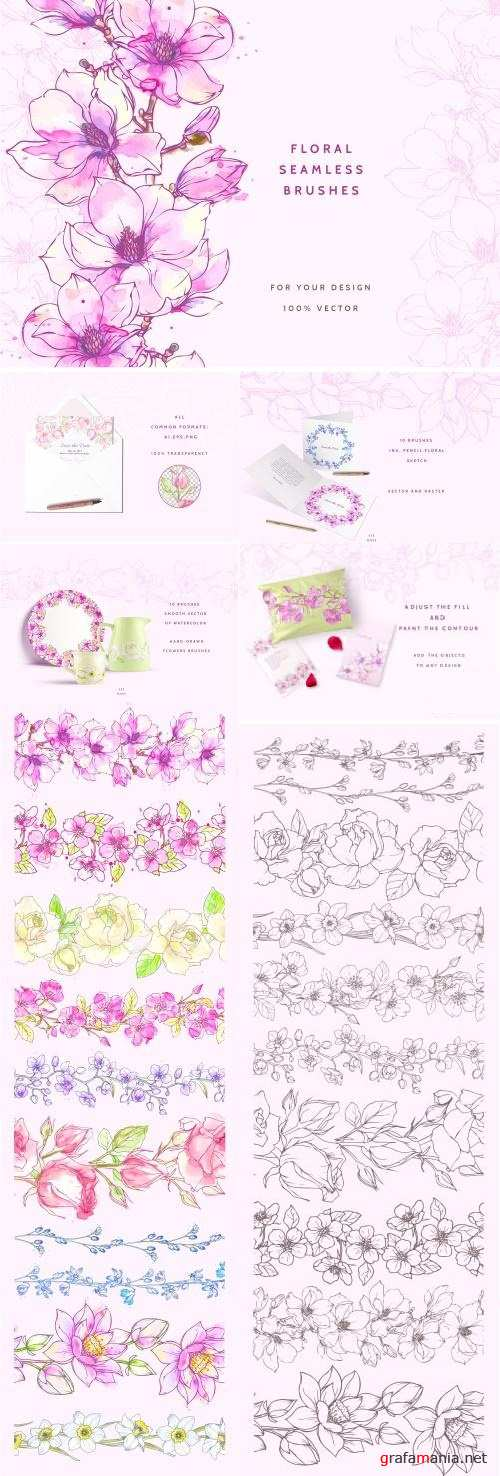 Vector Floral Brush Сollection - 2424879