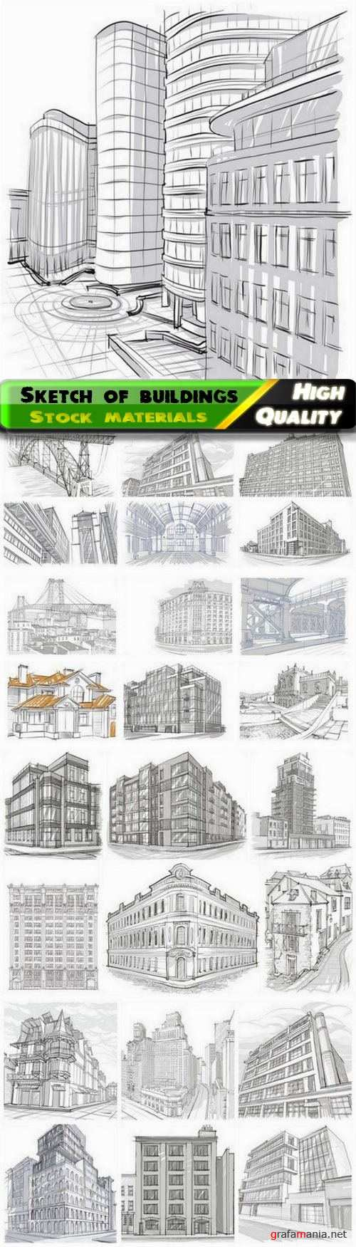 Sketch and drawing of city skyscraper office house building 25 Eps