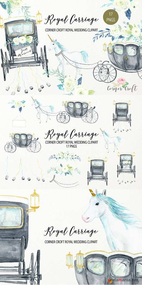 Watercolor Royal Carriage Clipart - 2516178