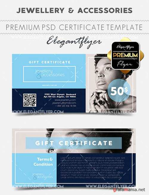 Jewellery & Accessories V1 2018 Gift Certificate PSD Template