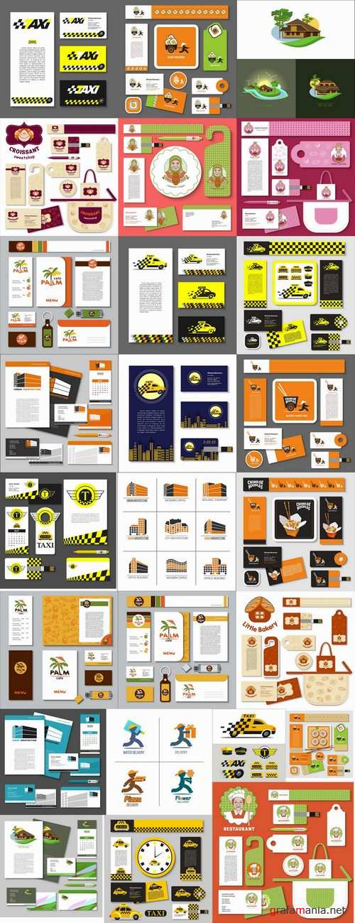 Corporate business card sticker template flyer banner 25 EPS