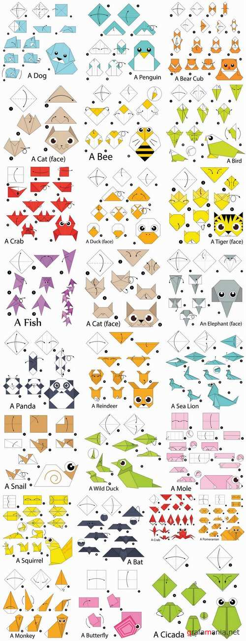 Origami animal for cutting and folding paper 25 EPS