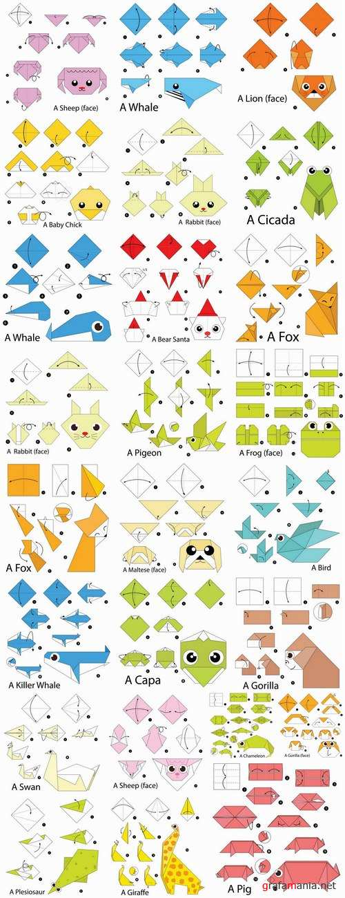 Origami animal for cutting and folding paper 2-25 EPS