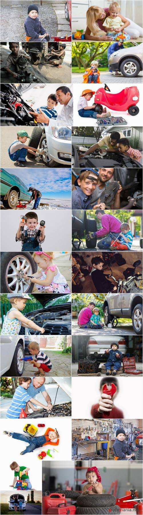 Baby mechanic body shop car repair bicycle tool breakage fault 25 HQ Jpeg