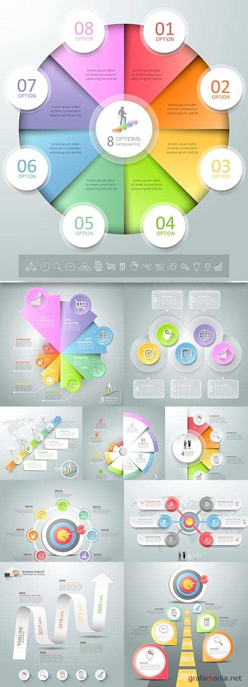 Business elements Infographics design collection 174