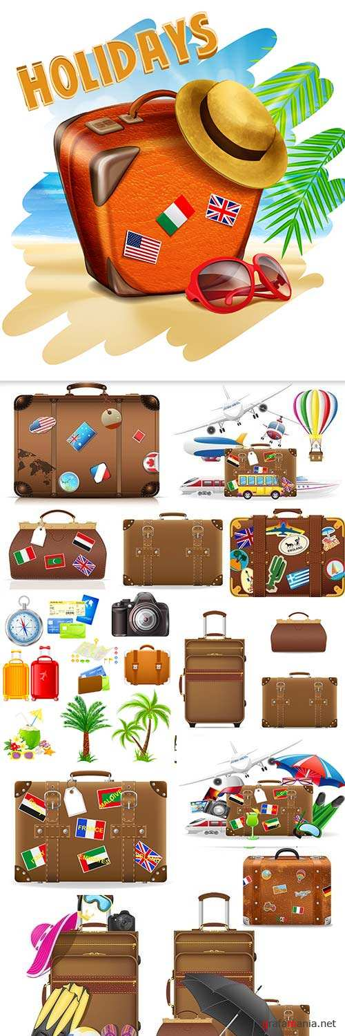 Summer holiday collected baggage and suitcases for travel