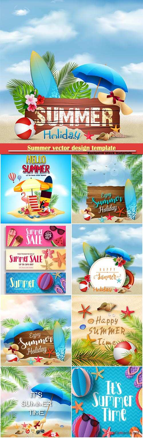 Summer vector design template, sale background # 2
