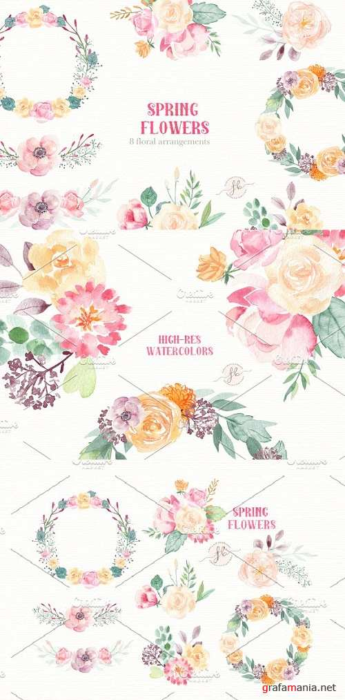 Spring Flowers- Watercolor set - 2340882