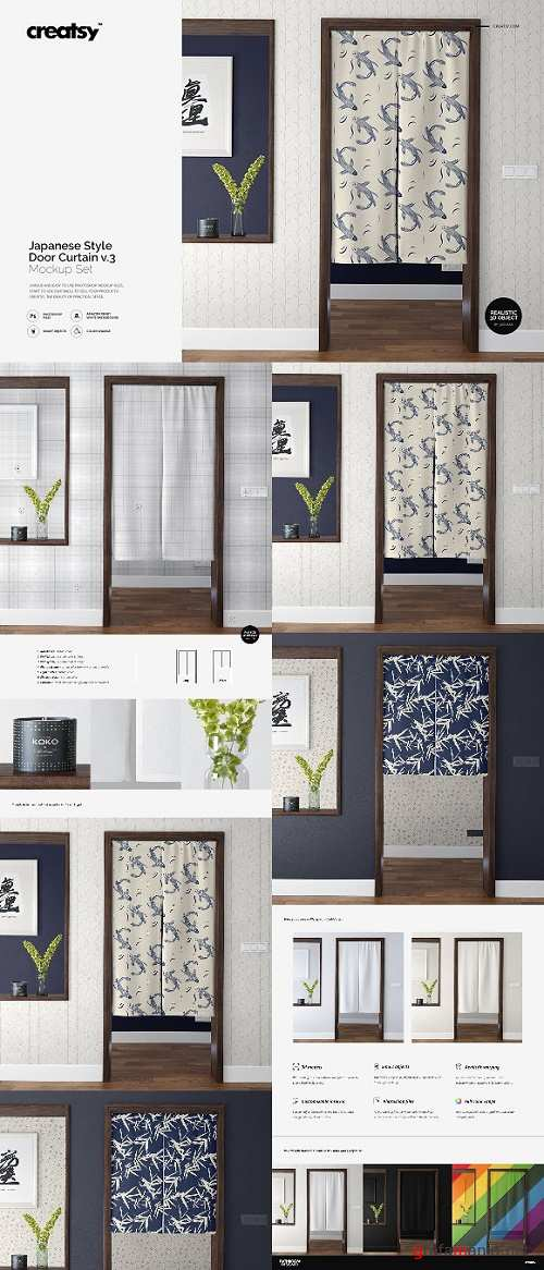 Door Curtain Mockup Set v3 2508104